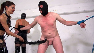 Mistress Susis and Natalies ballbusting slave part 2