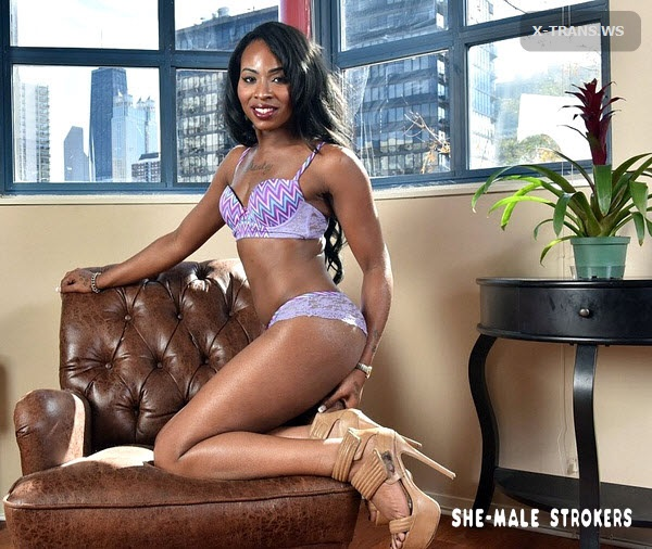 SheMaleStrokers: Megan Porter (Sexy Trans Girl Has A Big Creamy Chocolate Stick!)