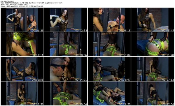 EroticFemaleDomination - Vanessa Lane - Tattooed Slave Dominated In A Jail Cell