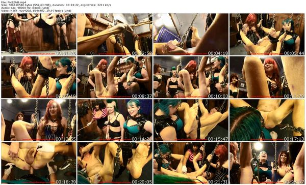AliceInBondageLand - Record-Setting FemDom Strap-On Gangbang - 5 Women On 1 Man
