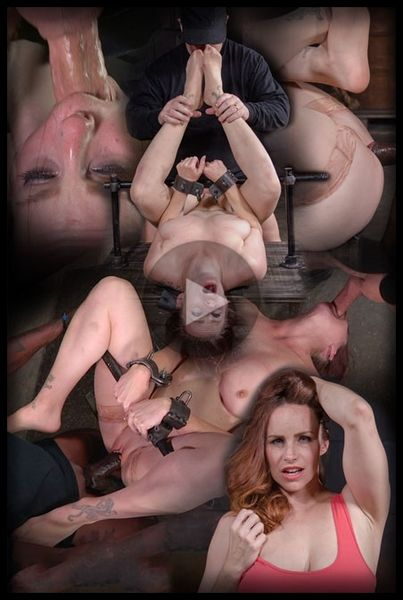 (04.04.2016) Busty Bella Rossi BaRS show grand finale with strict metal bondage and epic 3 cock dickdown!