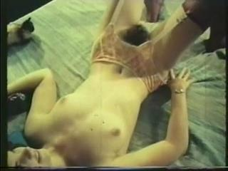 This video shows vintage skinny beauty with hairy pussy
