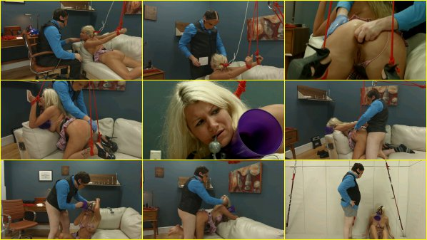 Degraded blond is trained to worship balls and eat ass 6