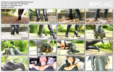 Dominatrix Annabelle - Autumnal Leather Boot Erotica!