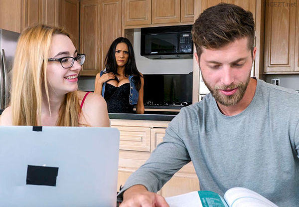 Hot college girl in glasses Tia Cyrus fucking hard dick of her teacher  2044825
