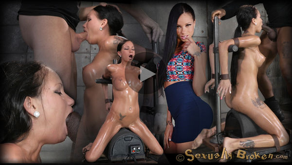 (23.05.2014) SB – Raven Bay bound on movable sybian, brutal face fucking, deepthroating, made to cum over and over