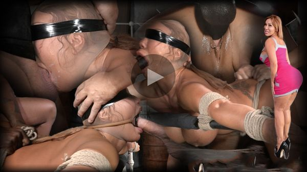 (15.08.2014) SB – Giant titted MILF Ava Devine blindfolded bound and fucked roughly by 2 cocks, filled and creampied