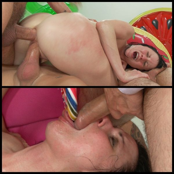 (27.08.2014) Intense face-fucking, anal, hardcore double penetration