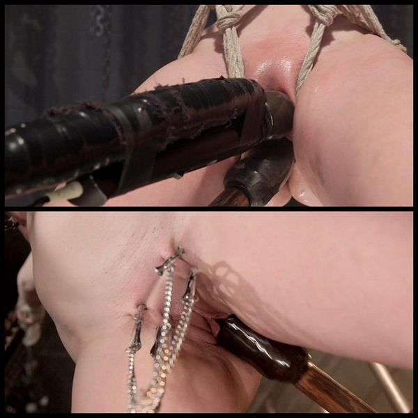 (09.10.2014) Brunette Bondage Slut Trussed Up and Fucked