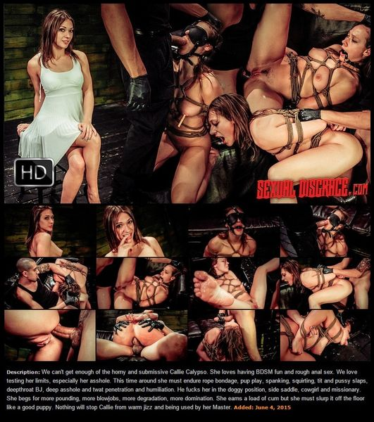(04.06.2015) Callie Calypso Wants More Rope Bondage, Deepthroat BJ, Rough Anal Sex, Humiliation, Pup Play, Cum Eating