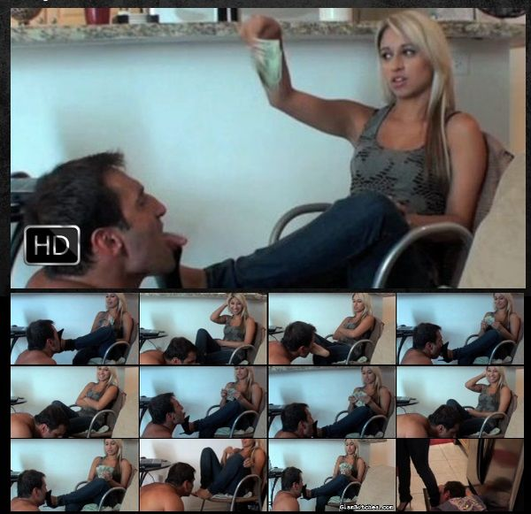 GlamBitches - Licking her feet for cold hard cash