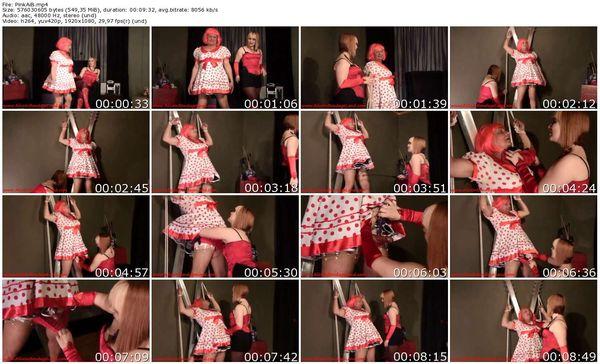 AliceInBondageLand - Pinky the Sissy - Handjob Humiliation - Shirley Temple Party Dress Bondage