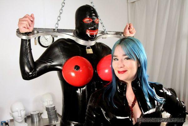 AliceInBondageLand - Chastity Fashion Show - Birdlocked Neo - Rubber Torpedo Tits Sissy Slave