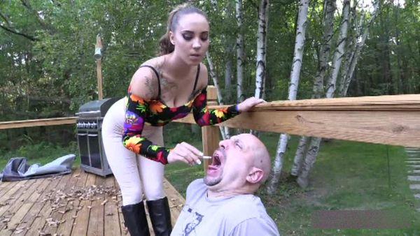 BratPrincess - Sasha Foxx - Bitchy Rider Uses Her Human Ash Tray