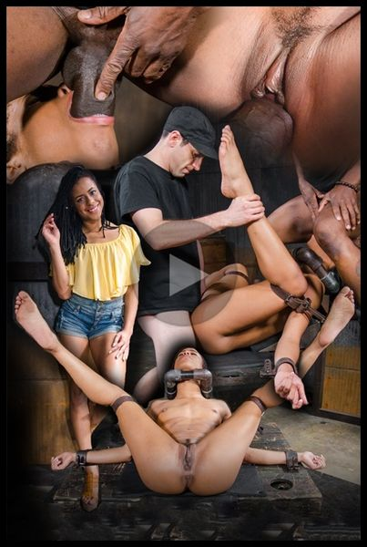(12.02.2016) Toned Kira Noir restrained in metal pipes and belt bondage, taken from ends by big dick