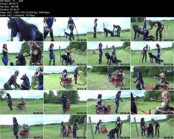 TheEnglishMansion - Mistress Lola Ruin, Mistress T - Rubber Horse Drawn Cart Complete