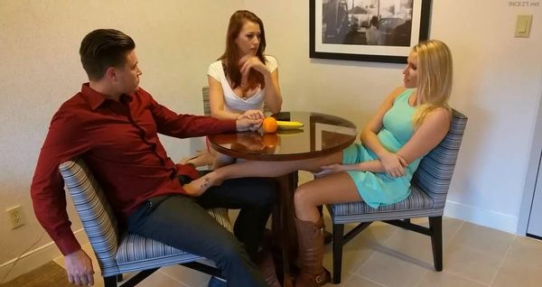 Mom Catches Daughter Footjob Blowjob Under The Table HD