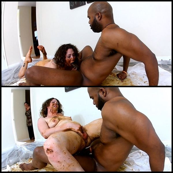 Woman shitting on black dick and masturbates dirty pussy