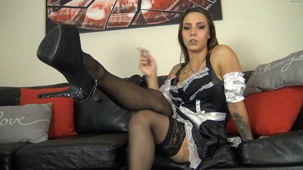 french maid footjob