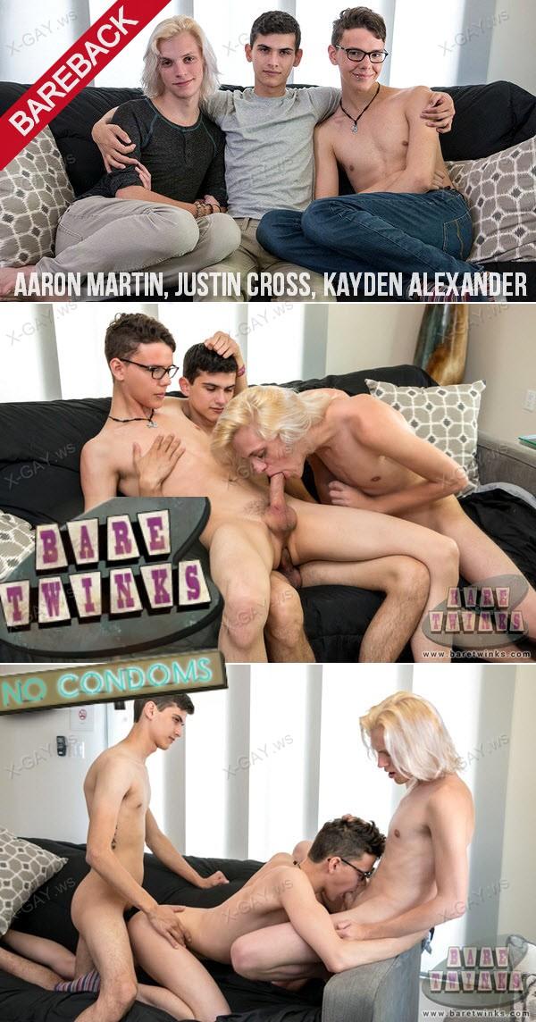 BareTwinks: Sexy Boy Justin Gets His Threeway Wish (Aaron Martin, Justin Cross, Kayden Alexander) (Bareback)