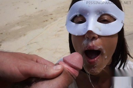 Public Piss Drinking and Cum Facial on the Beach