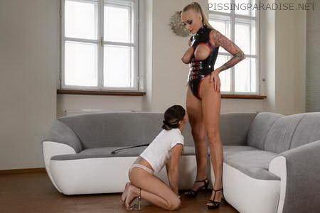 Latex Dominatrix – Hungarian Domina Spanks Young Russian Girl