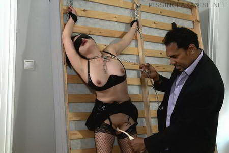 Bound babe gets excited with stick [Part 1]