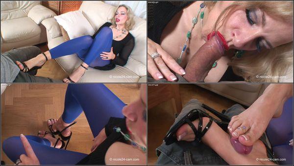 Footjob In Blue Leggings [FetishMania] Nicole24 (720p)