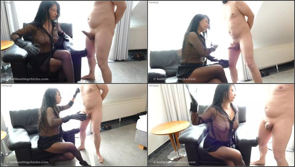 Hard Cock Beating With Leather Gloves [BallBustingChicks] Mistress Kawa (288 MB)