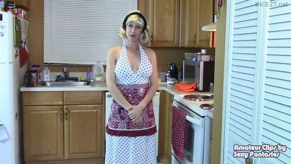 Retro Style MILF Gives Taboo Blow Job and Doggystyle Fucking to Son in Kitchen for Stress Relief – Brittany Lynn 1080 HD